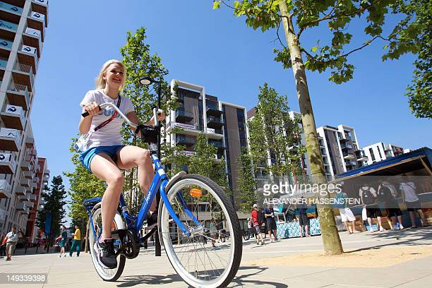 Emilia Pikkarainen of Finland rides through the Olympic Village ahead of the London 2012 Olympic Games at the Olympic Park on July 26 2012 in London...