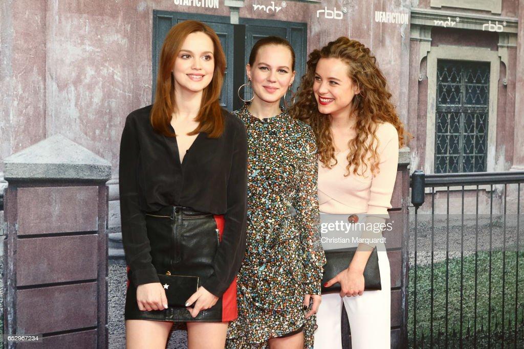 Emilia Schuele, Alica von Rittberg and Klara Deutschmann attend the 'Charite' premiere at Langenbeck-Virchow-Haus on March 13, 2017 in Berlin, Germany.