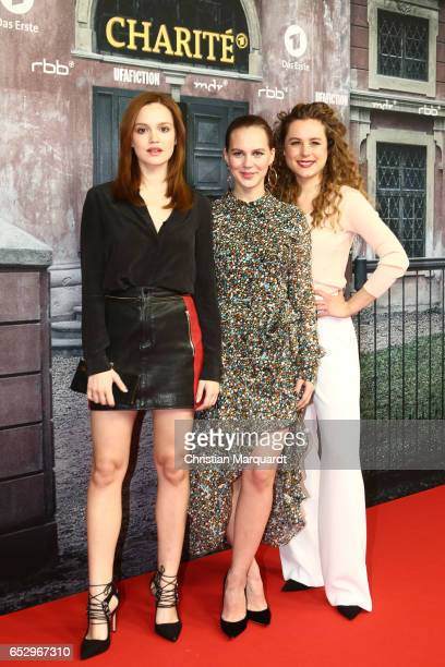 Emilia Schuele Alica von Rittberg and Klara Deutschmann attend the 'Charite' premiere at LangenbeckVirchowHaus on March 13 2017 in Berlin Germany