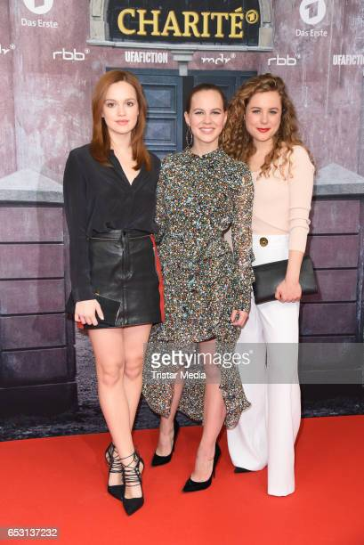 Emilia Schuele Alicia von Rittberg and Klara Deutschmann attend the 'Charite' Berlin Premiere on March 13 2017 in Berlin Germany