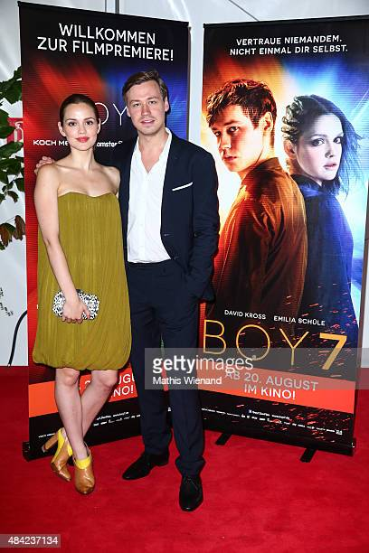 Emilia Schuele and David Kross attend the premiere for the film BOY 7 at Commerz Real Cinema on August 16, 2015 in Duesseldorf, Germany.