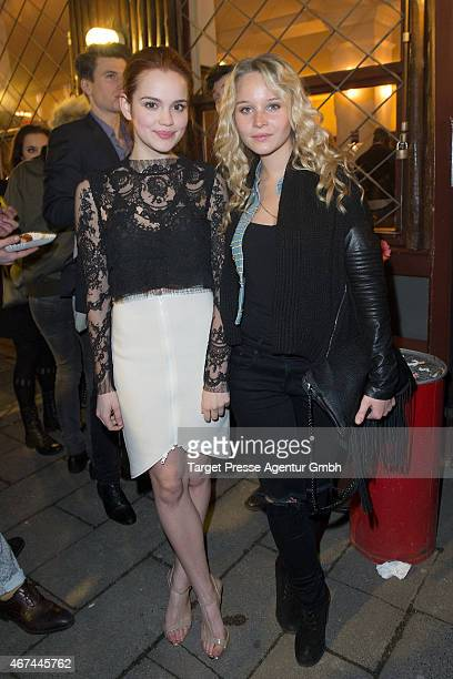 Emilia Schuele and Sonja Gerhardt attends the premiere of the film 'Tod den Hippies Es lebe der Punk' at UCI Kinowelt on March 24 2015 in Berlin...