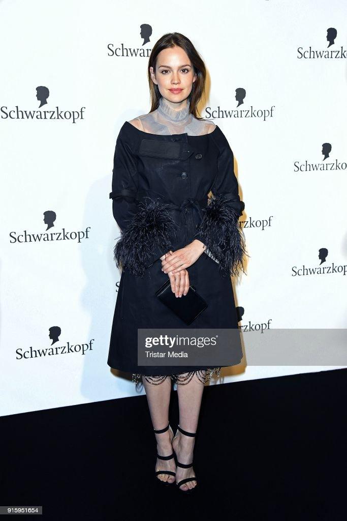 Emilia Schuele attends the 120th anniversary celebration of Schwarzkopf at U3 subway tunnel Potsdamer Platz on February 8, 2018 in Berlin, Germany.