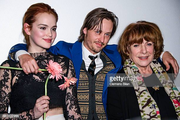 Emilia Schuele, Tom Schilling and Hannelore Hoger attend the premiere of the film 'Tod den Hippies - Es lebe der Punk!' at UCI Kinowelt on March 24,...