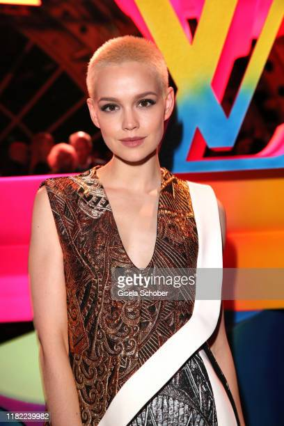Emilia Schuele, wearing a dress by Louis Vuitton during the Louis Vuitton Store opening at KaDeWe on November 12, 2019 in Berlin, Germany.