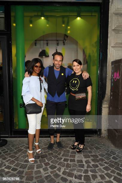 Emilia Tambwe Nicolas Loufrani and Stacy Igel attend the Boy Meets Girl Black Label X Smiley Original as part of Paris Fashion Week on June 23 2018...