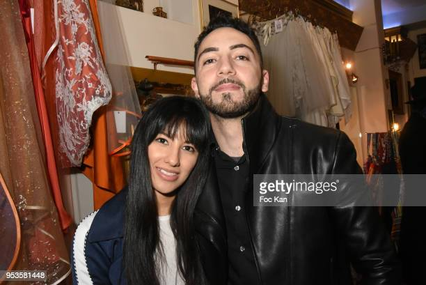 Emilia Velasquez Krief and David Sparte attend Zelia Van Den Bulke Aprons show At Zelia Abbesses Shop on May 1, 2018 in Paris, France.