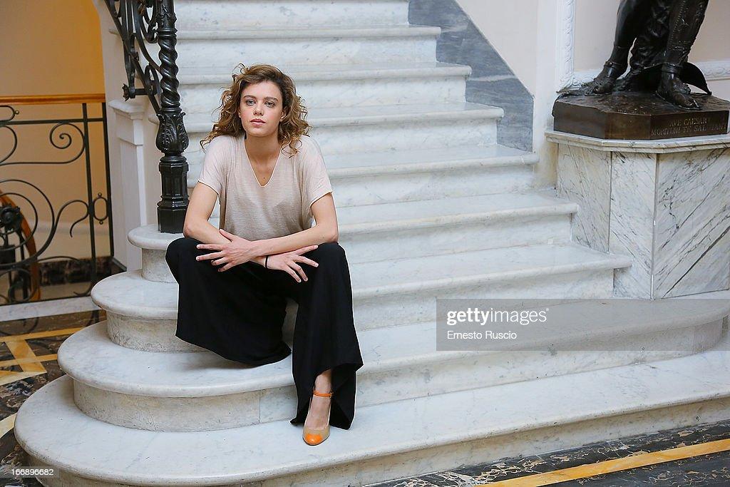 Emilia Verginelli attends the 'Meglio Se Stai Zitta' photocall at Hotel Regina Baglioni on April 18, 2013 in Rome, Italy.