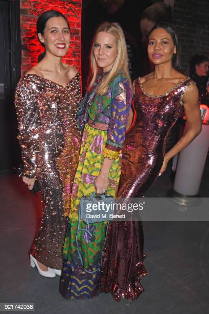 Emilia Wickstead Alice NaylorLeyland and Emma Weymouth attend the Naked Heart Foundation's Fabulous Fund Fair at The Roundhouse on February 20 2018...
