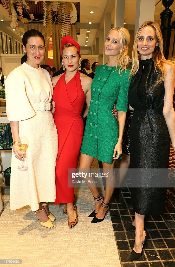Emilia Wickstead, Charlotte Olympia, Poppy Delevingne and Lauren Santo Domingo attend the Moda Operandi Holiday dinner hosted by Lauren Santo Domingo on November 17, 2015 in London, England.