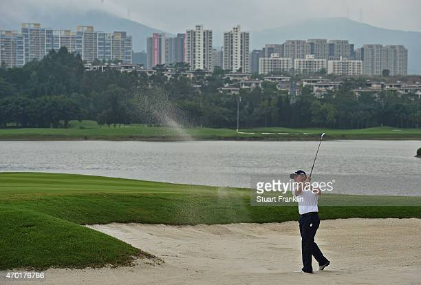 Emilian Grillo of Argentina plays a shot during the third round of the Shenzhen International at Genzon Golf Club on April 18 2015 in Shenzhen China