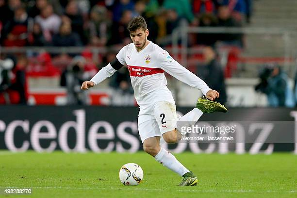 Emiliano Adrian Insúa Zapata of Stuttgart runs with the ball during the Bundesliga match between VfB Stuttgart and FC Augsburg at Mercedes-Benz Arena...