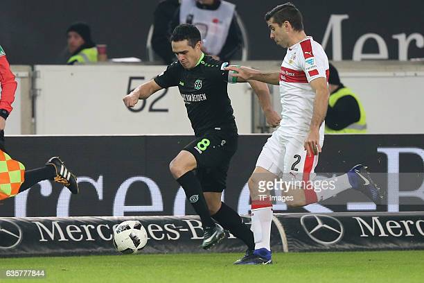 Emiliano Adrian Insua Zapata of Stuttgart and Manuel Schiedebach of Hannover 96 battle for the ball during the Second Bundesliga match between VfB...