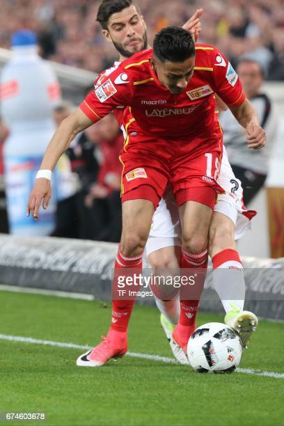 Emiliano Adrian Insua Zapata of Stuttgart , Kenny Prince Redondo of Union Berlin battle for the ball during the Second Bundesliga match between VfB...