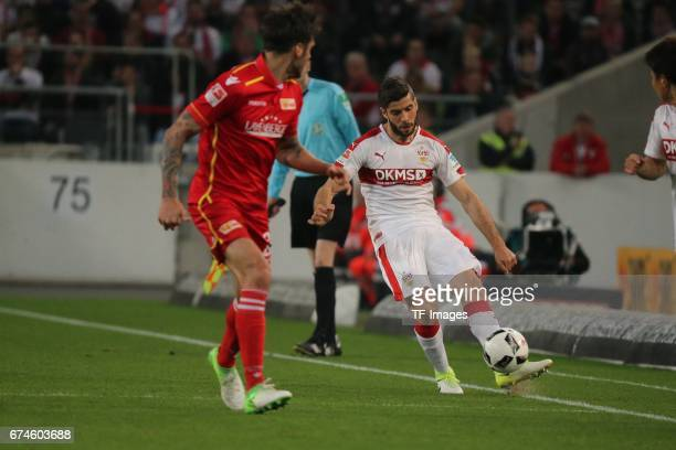 Emiliano Adrian Insua Zapata of Stuttgart Roberto Puncec of Union Berlin battle for the ball during the Second Bundesliga match between VfB Stuttgart...