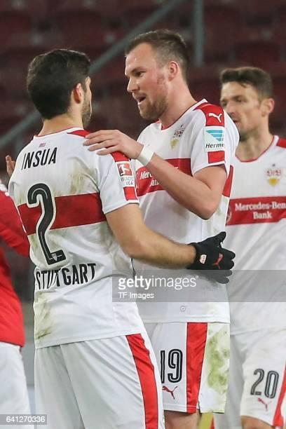 Emiliano Adrian Insua Zapata of Stuttgart shakes hands with Kevin Grosskreutz of Stuttgart during the Second Bundesliga match between VfB Stuttgart...