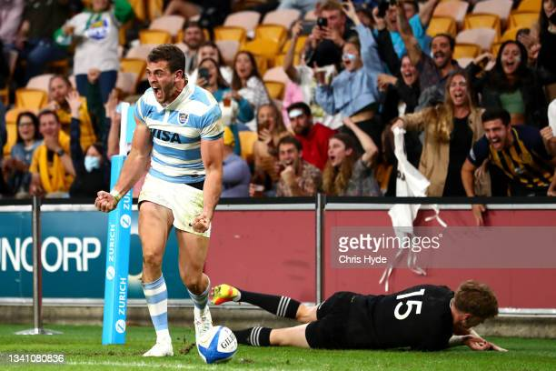 Emiliano Boffelli of Argentina celebrates after scoring a try during The Rugby Championship match between the Argentina Pumas and the New Zealand All...
