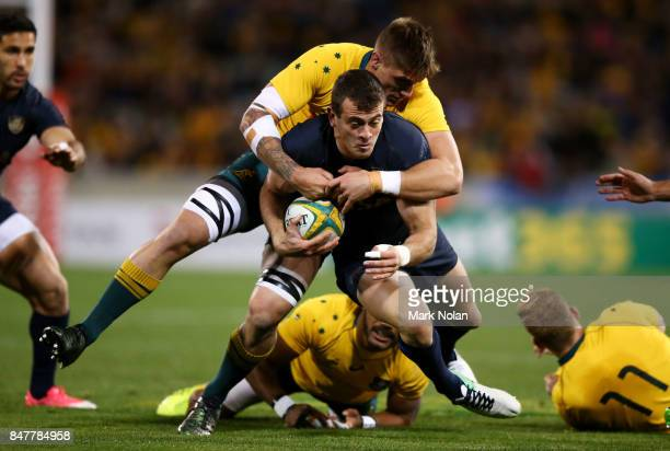 Emiliano Boffelli of Argentina is tackled during The Rugby Championship match between the Australian Wallabies and the Argentina Pumas at Canberra...