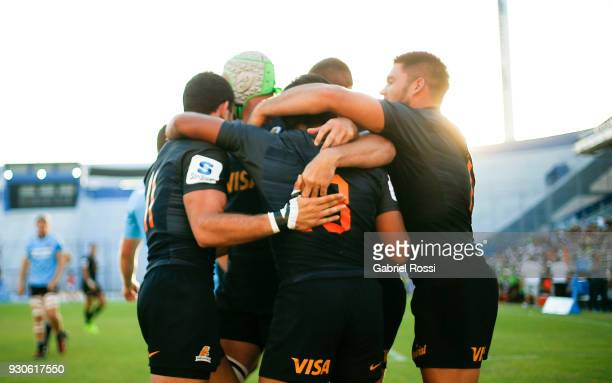 Emiliano Boffelli of Jaguares celebrates with a teammates after scoring a try during a match between Jaguares and Waratahs as part of fourth round of...