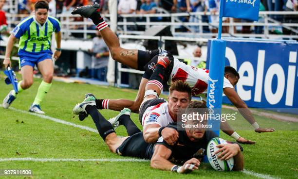 Emiliano Boffelli of Jaguares scores a try during a match between Jaguares and Lions as part of the sixth round of Super Rugby at Jose Amalfitani...