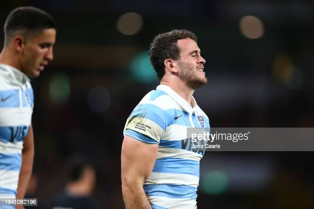 Emiliano Boffelli reacts during The Rugby Championship match between the Argentina Pumas and the New Zealand All Blacks at Suncorp Stadium on...
