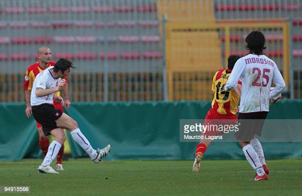 Emiliano Bonazzoli of Reggina Calcio scores opening goal during the Serie B match between Gallipoli Calcio and Reggina Calcio at Stadio Via del Mare...