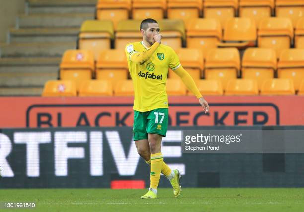 Emiliano Buendia of Norwich City celebrates after scoring their side's third goal during the Sky Bet Championship match between Norwich City and...