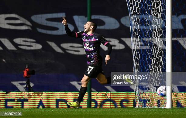 Emiliano Buendia of Norwich City celebrates after scoring their side's second goal during the Sky Bet Championship match between Coventry City and...