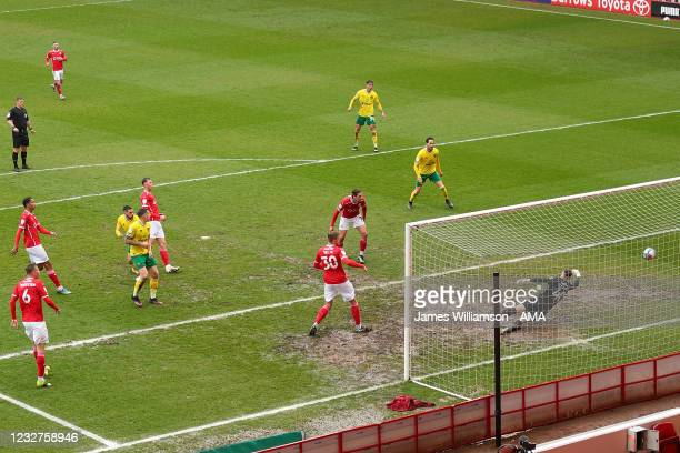 Emiliano Buendia of Norwich City scores a goal to make it 1-1 during the Sky Bet Championship match between Barnsley and Norwich City at Oakwell...