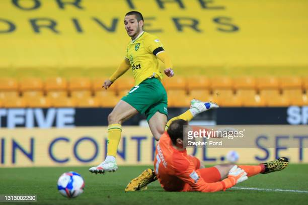 Emiliano Buendia of Norwich City scores his team's first goal past Asmir Begovic of AFC Bournemouth during the Sky Bet Championship match between...