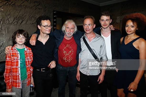 Emiliano Christophe Richard Pierre Richard Olivier Richard Arthur Defays and Noemie pose after the one man show of Pierre Richard 'Le Vendredi 13 De...