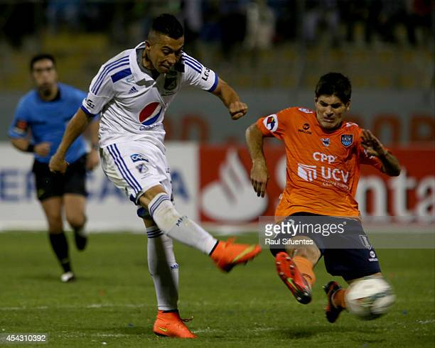 Emiliano Ciucci of Cesar Vallejo struggles for the ball with Fernando Uribe of Millonarios during a match between Cesar Vallejo and Millonarios as...