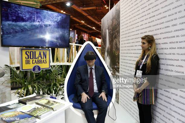 Emiliano Garcia Page President of Castilla La Mancha uses 3D glasses Jan 2018 Madrid Spain International tourism trade fair 17 to 21 January Madrid...