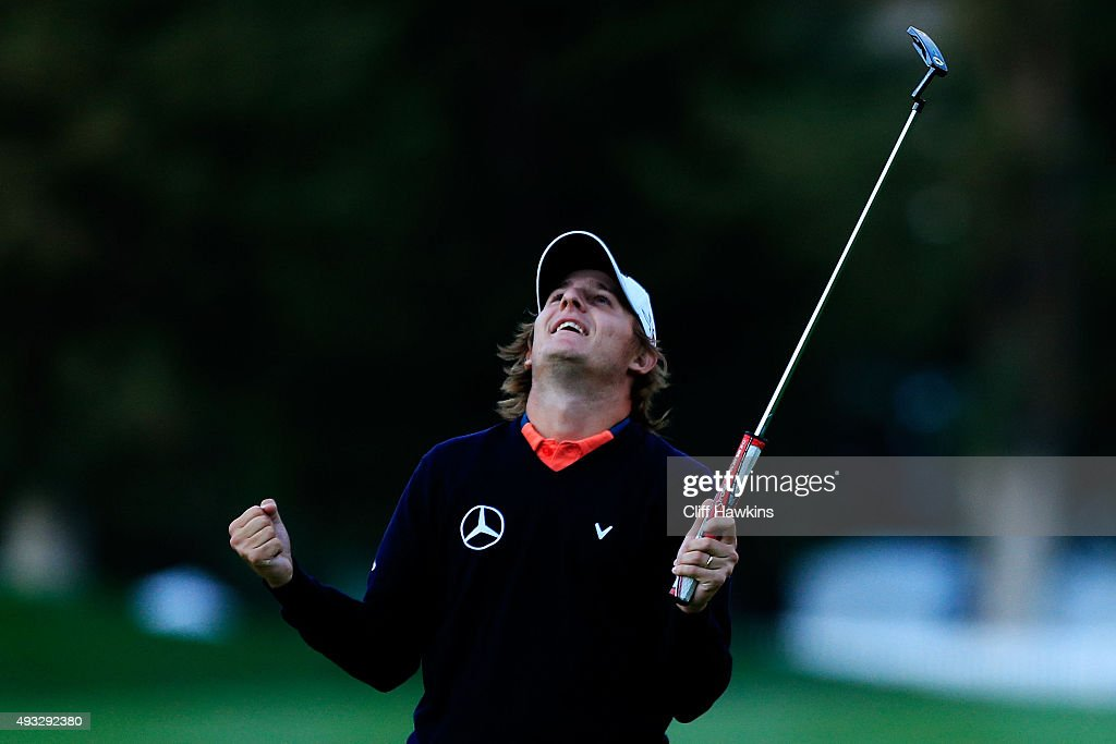 Emiliano Grillo of Argentina celebrates after winning in the final round of the Frys.com Open on October 18, 2015 at the North Course of the Silverado Resort and Spa in Napa, California.