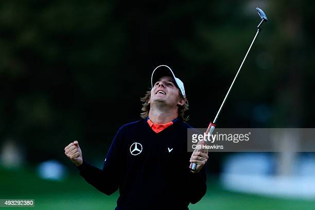 Emiliano Grillo of Argentina celebrates after winning in the final round of the Fryscom Open on October 18 2015 at the North Course of the Silverado...