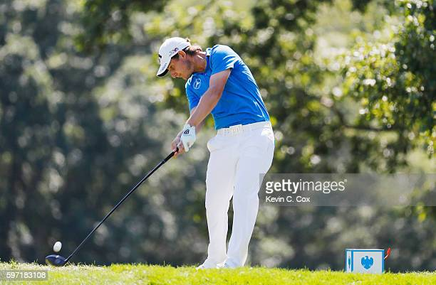 Emiliano Grillo of Argentina hits his tee shot on the fifth hole during the final round of The Barclays in the PGA Tour FedExCup PlayOffs on the...