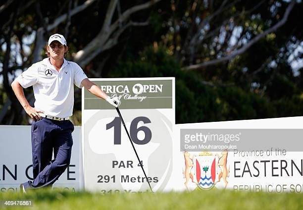 Emiliano Grillo of Argentina looks on before he hits his tee shot on the 16th hole during Day 3 of the Africa Open at East London Golf Club on...