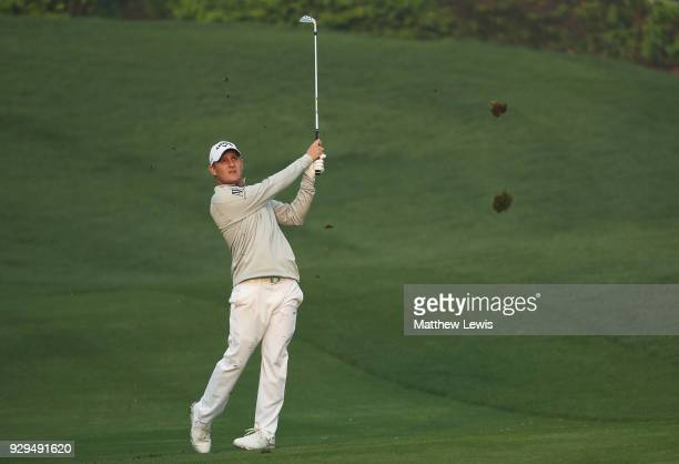 Emiliano Grillo of Argentina plays a shot from the 10th fairway during day two of the Hero Indian Open at Dlf Golf and Country Club on March 9, 2018...