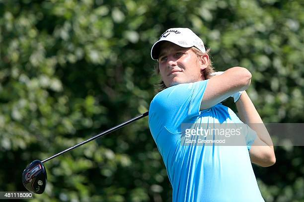 Emiliano Grillo of Argentina plays a shot on the 16th hole during the second round of the Barbasol Championship at the Robert Trent Jones Golf Trail...
