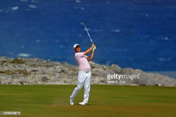 Emiliano Grillo of Argentina plays a shot on the eighth hole during the final round of the Corales Puntacana Resort & Club Championship on March 28,...