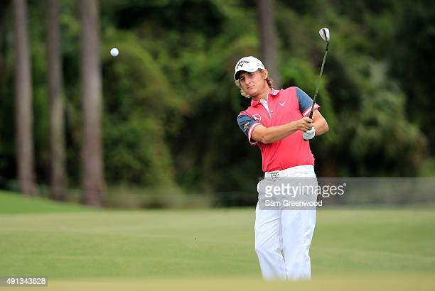 Emiliano Grillo of Argentina plays a shot on the third hole during the final round of the Webcom Tour Championship at the TPC Sawgrass Dye's Valley...