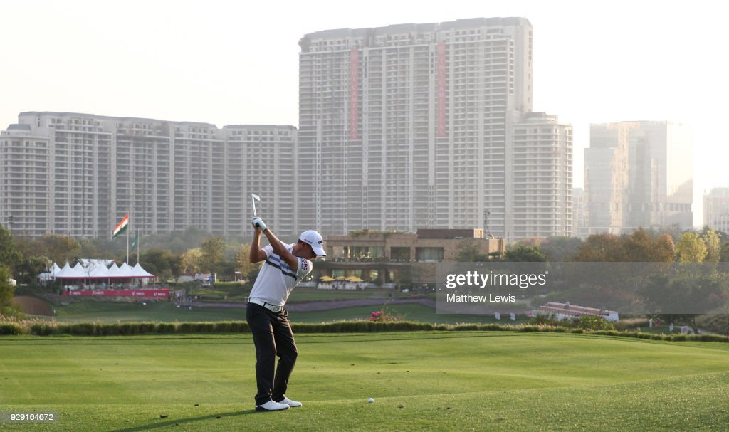 Emiliano Grillo of Argentina plays his second shot on the 18th hole during day one of the Hero Indian Open at Dlf Golf and Country Club on March 8, 2018 in New Delhi, India.