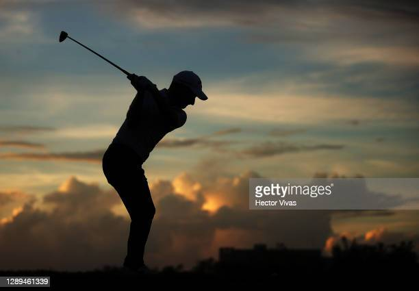 Emiliano Grillo of Argentina plays his shot from the 17th tee during the second round of the Mayakoba Golf Classic at El Camaleón Golf Club on...