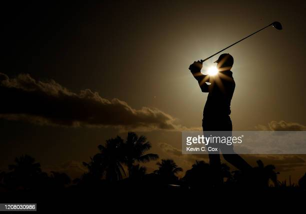 Emiliano Grillo of Argentina plays his shot from the 18th tee during the third round of the Puerto Rico Open at Grand Reserve Country Club on...