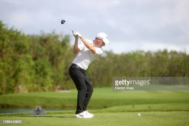 Emiliano Grillo of Argentina plays his shot from the second tee during the second round of the Mayakoba Golf Classic at El Camaleón Golf Club on...