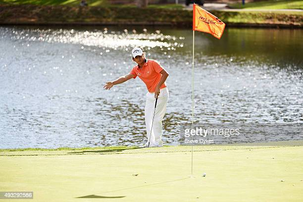 Emiliano Grillo of Argentina reacts on the 11th green during final round of the Fryscom Open on October 18 2015 at the North Course of the Silverado...