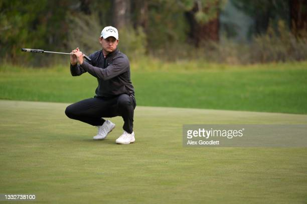 Emiliano Grillo of Argentina reacts on the 12th green during the second round of the Barracuda Championship at Tahoe Mountain Club's Old Greenwood...