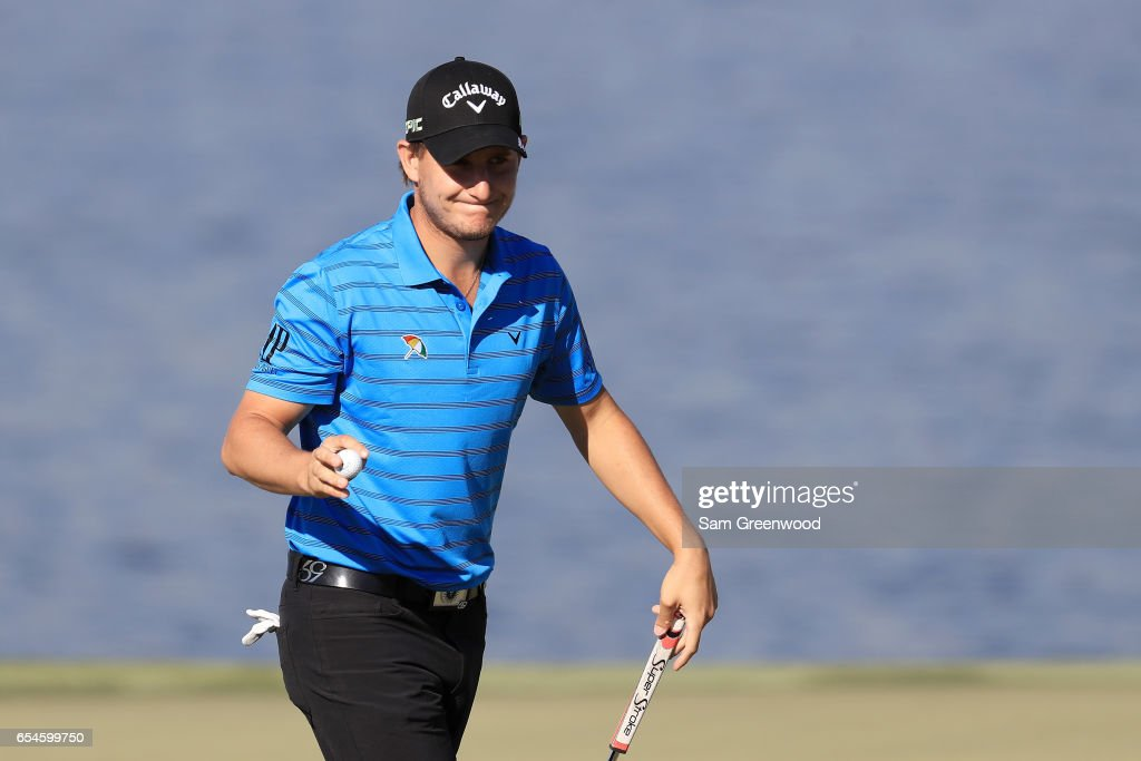 Emiliano Grillo of Argentina reacts on the sixth green during the second round of the Arnold Palmer Invitational Presented By MasterCard at Bay Hill Club and Lodge on March 17, 2017 in Orlando, Florida.