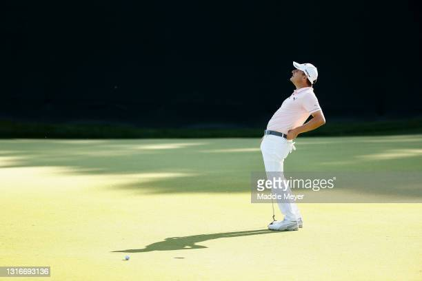 Emiliano Grillo of Argentina reacts to a missed putt on the 15th green during the first round of the 2021 Wells Fargo Championship at Quail Hollow...