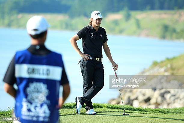 Emiliano Grillo of Argentina waits on a green during the second round of the 2015 PGA Championship at Whistling Straits on August 14 2015 in...